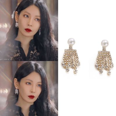 2020 fashion new Korea TV Penthouse WAR IN LIFE Tassel Earrings 김소연 Kim So-yeon elegant Earrings Eardrop