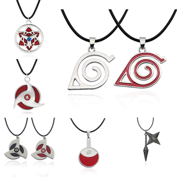 Mixed Styles Anime Naruto Necklace Uchiha Itachi Mangekyou Pendant Leaf Village Symbol Cosplay Jewelry Collares Dropshipping image