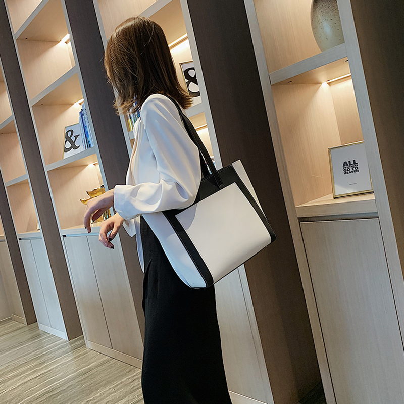 Fashion Female Shoulder Bag Contrast Color Simple Woman Large Capacity Pu Leather Commuter Young Lady High Quality Work