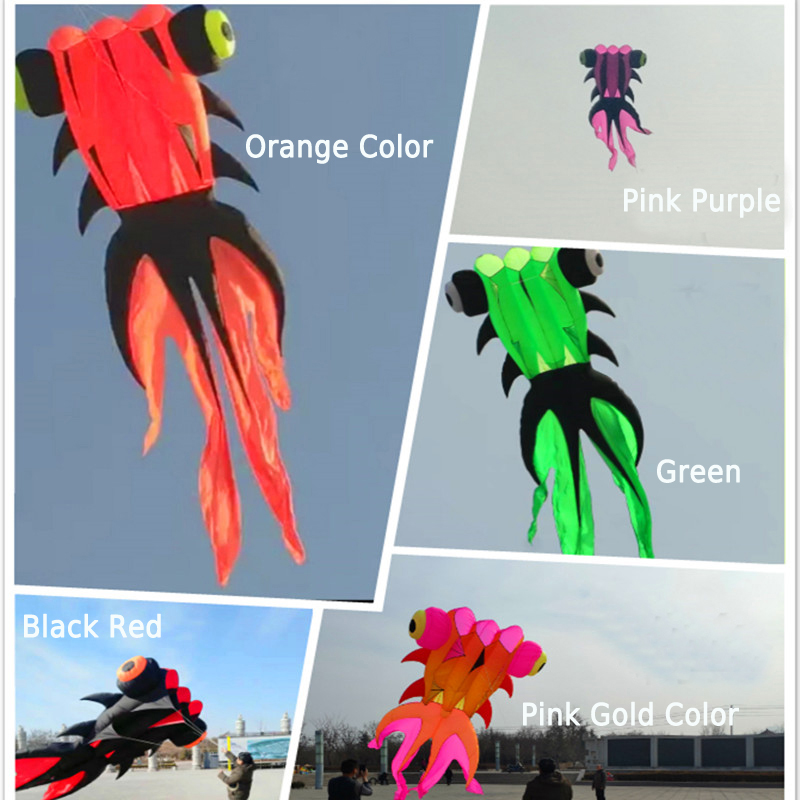Free Shipping 37sqm Goldfish Soft Kite Nylon Ripstop Outdoor Toys Fly Kites For Adults Large Kite Surf Octopus Jellyfish