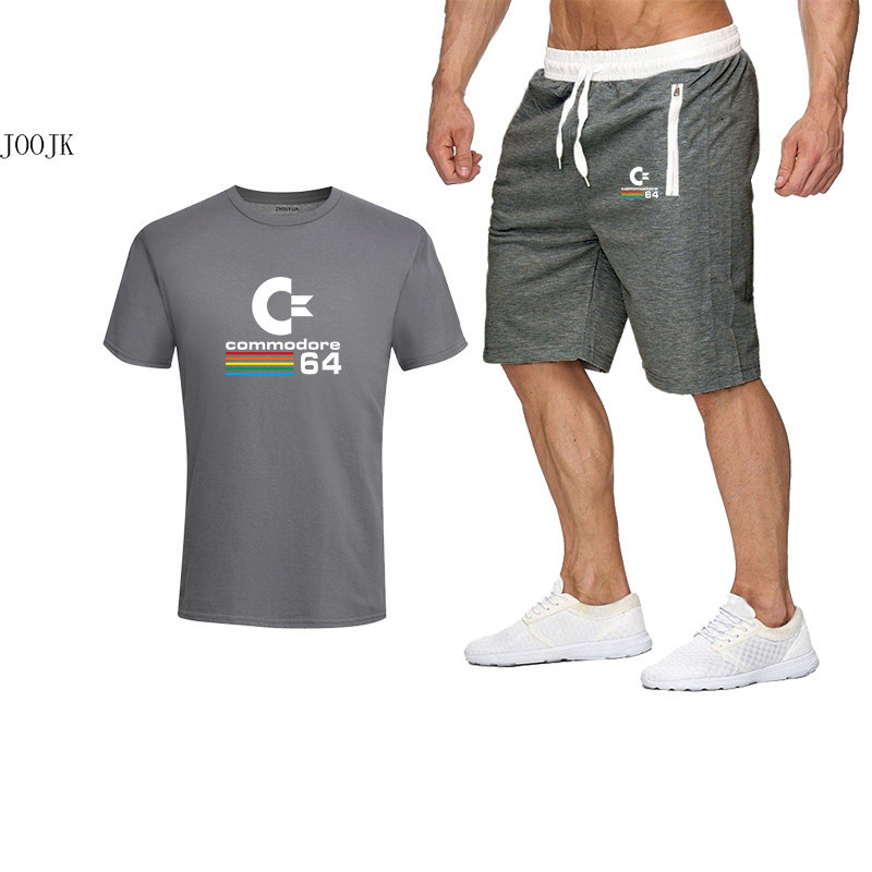 Men's Summer Tracksuit Sets Shorts + Cotton Short Sleeve T Shirt Men Beach Shorts Tee Male Tracksuits Elastic Waist Shorts