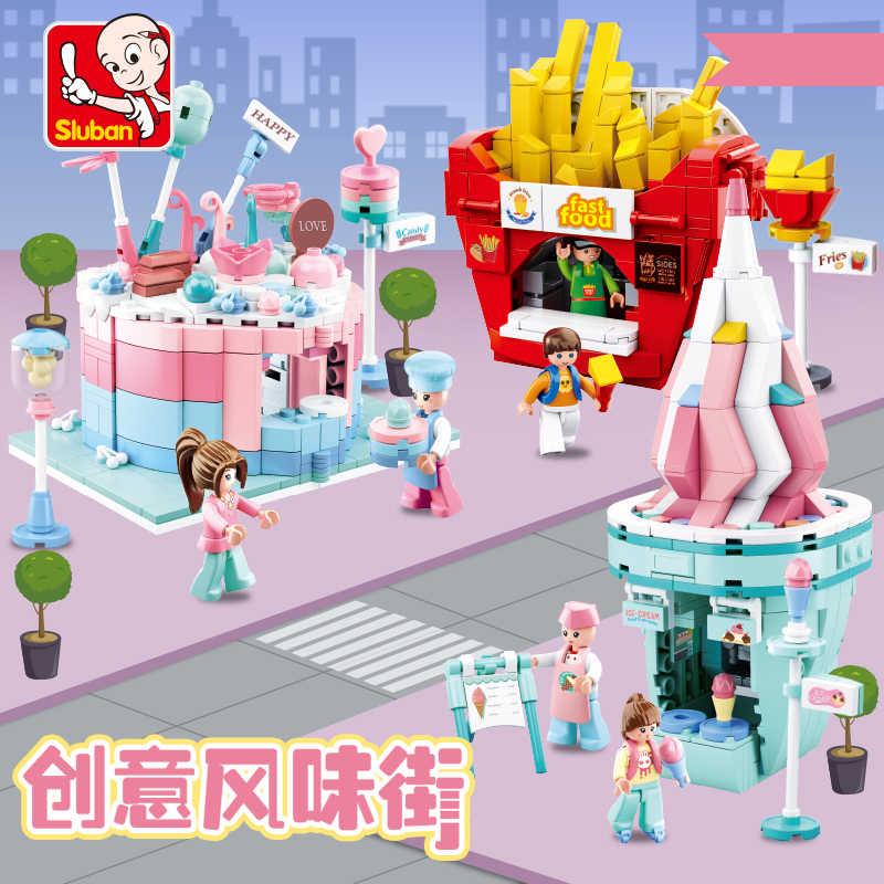 Kota Kompatibel Legoed Arsitektur Kota Mcdonalding Makanan Hamburger Toko Toko Bangunan Blok Batu Bata Mainan Konstruktor