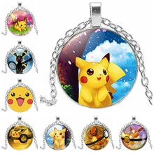 Hot Classic Cartoon Pikachu Glass Convex Round Childrens Necklace All Kinds of Pattern Gifts Sale