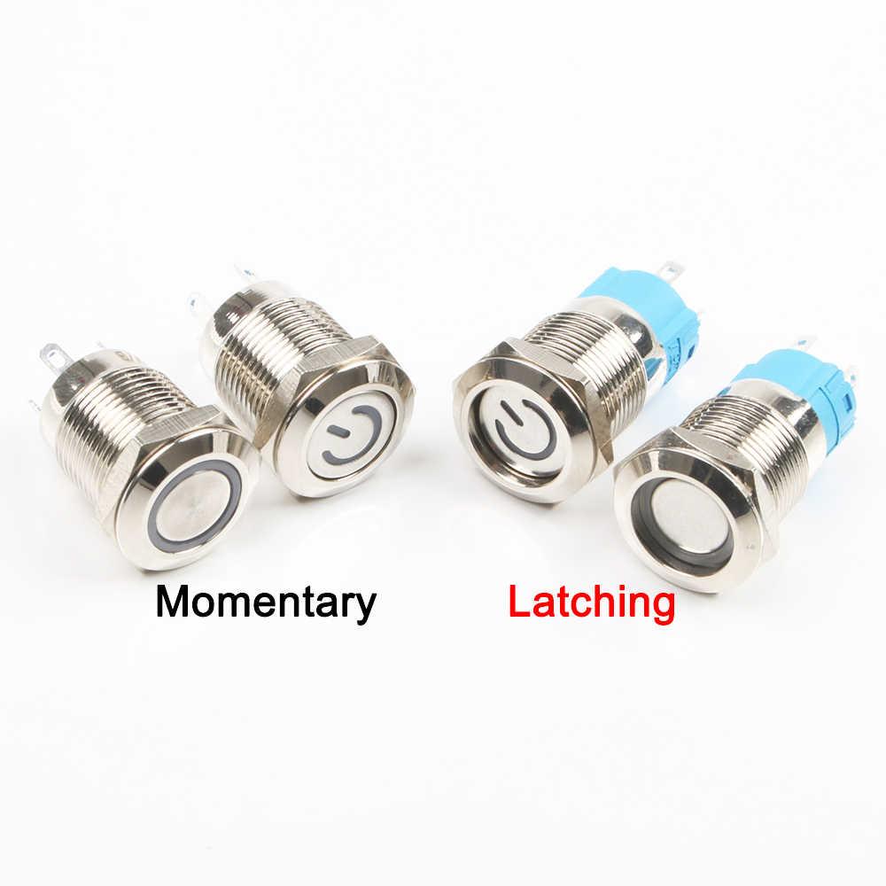 12 มม.LED 3V 5V 12V 24V 220V ปุ่มโลหะสวิทช์ Momentary LATCHING PUSH ปุ่มรีเซ็ตอัตโนมัติกันน้ำ Illuminated แหวน