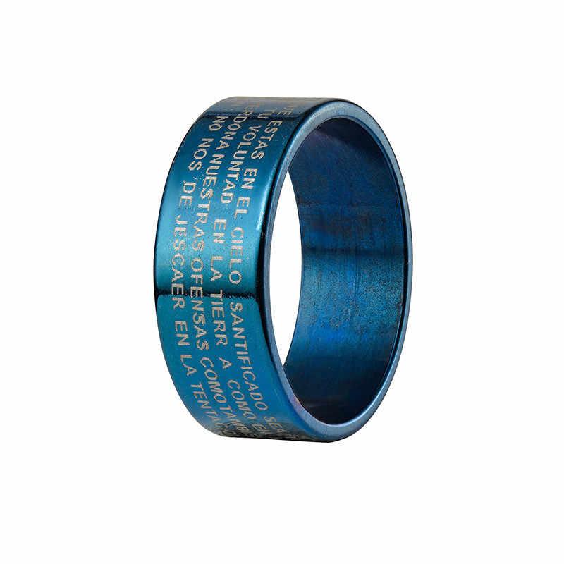 สีขาวไทเทเนียมสำหรับผู้หญิงแหวน Jesus แหวนจดหมายผู้ชายแหวนหมั้นแหวนผู้ชายส่วนบุคคลเครื่องประดับงานแต่งงานของขวัญชาย
