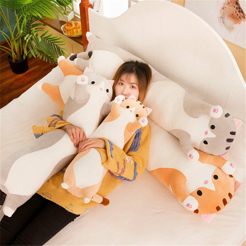 Children's toys Decorative pillows Long Cotton Cute Cat Doll Plush Toy Soft Stuffed Sleeping Pillow Comfort cushions for decor