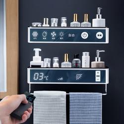 Bathroom Shelf Wall Mounted Shampoo Shower Shelves Holder Kitchen Storage Rack Organizer Towel Bar Bath Accessories