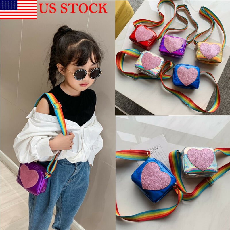 2020 Baby Accessories New Bag Baby Kids Girls Toddler Fashion Shoulder Sequins Heart Rainbow Messenger Laser Handbag Bag Gift
