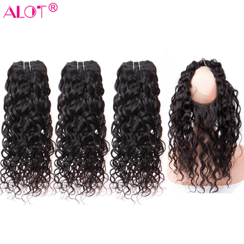 ALot Water Wave Human Hair Bundles With 360 Lace Frontal Closure Non Remy Peruvian Hair 3 Bundles With Lace Closure 4 Pcs Deal image