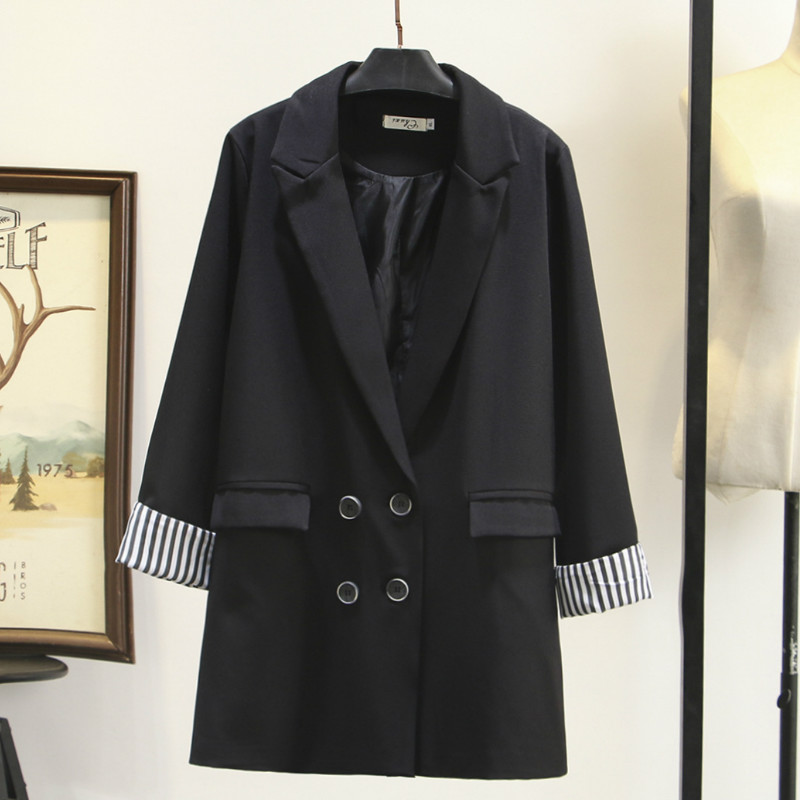 Large Size Women's Jacket Long Section Casual Temperament Striped Long-sleeved Ladies Blazer Fashion Office Women's Suit Autumn
