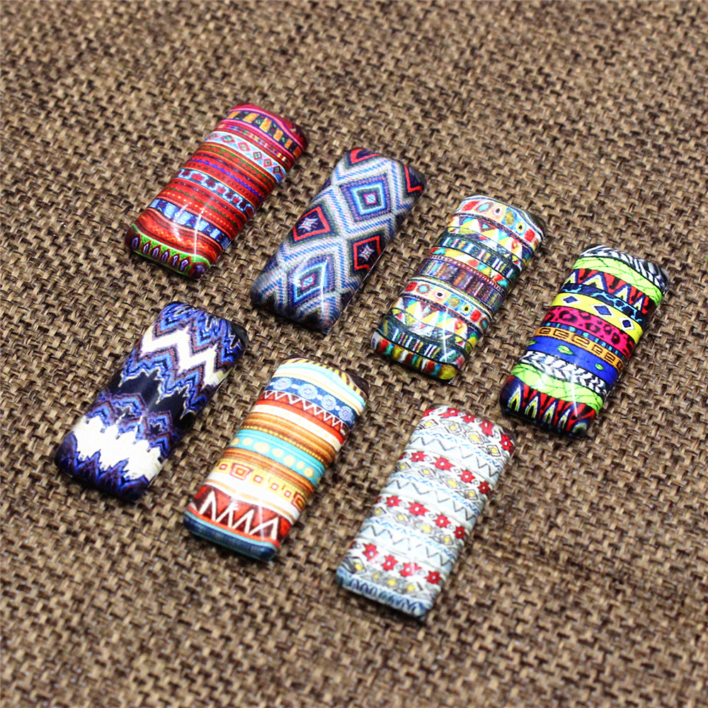 10x25mm Random Mixed Retro Striped Flower Rectangle Pattern Glass Cabochon Flatback Photo Tray Blank DIY Accessories Paird 10pcs