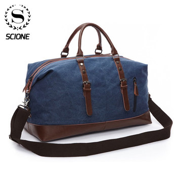 Scione Men Canvas Travel Shoulder Luggage Bags Large Capacity Handbag Business Casual Vintage Leather Simple Tote Bag For Women - discount item  46% OFF Travel Bags