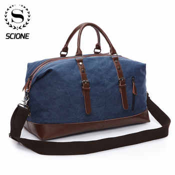 Scione Men Canvas Travel Shoulder Luggage Bags Large Capacity Handbag Business Casual Vintage Leather Simple Tote Bag For Women - DISCOUNT ITEM  44 OFF Luggage & Bags