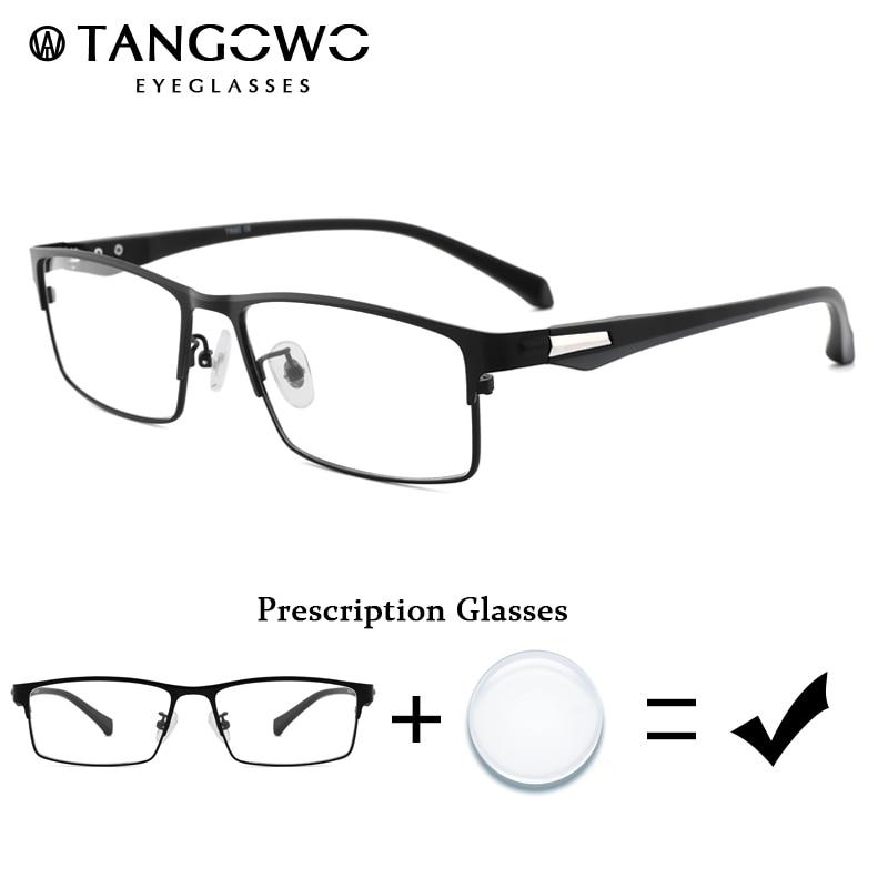 TANGOWO Male Prescription Eyeglasses Grade Glass Degree Eyewear Alloy+TR90 Glasses Frame Mens Myopia Glasses Optical Eyeglasses