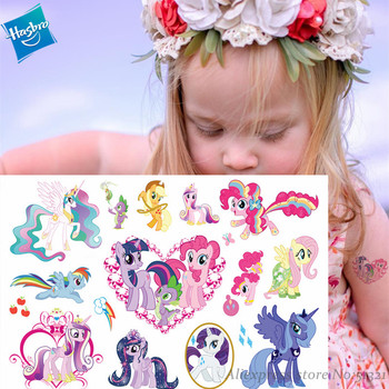 Hasbro My Little Pony Cute Cartoon Temporary Tattoo Sticker For Girl Cartoon Toy Waterproof Birthday Party Tool Girl Gift