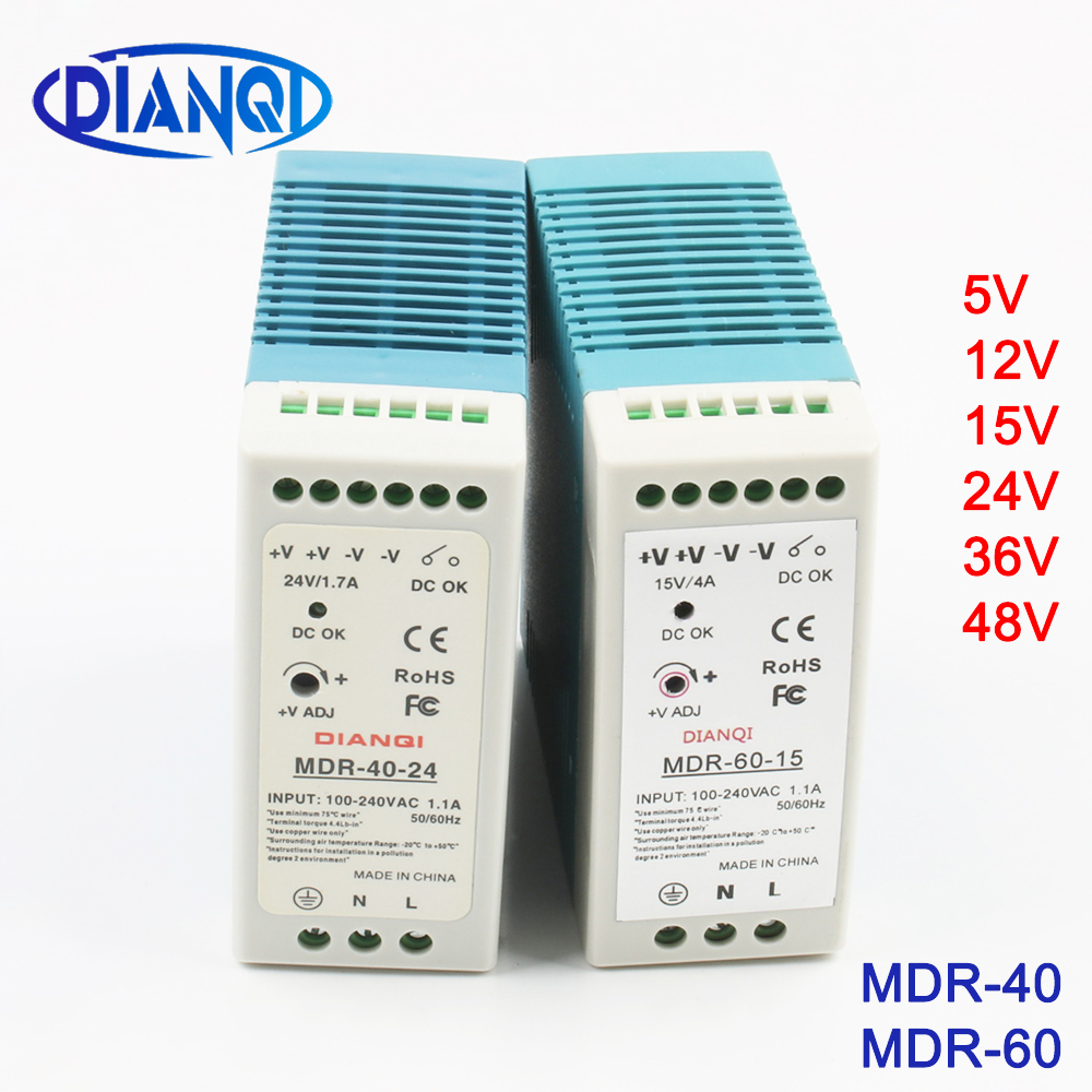 Mini Size Single Output Industrial DIN Rail switching Power Supply ac dc MDR 40W <font><b>60W</b></font> driver output <font><b>5V</b></font> 12V 15V 24V 36V 48V image