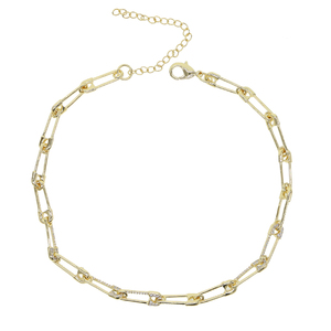 Image 2 - 2020 summer new necklace pin shape charm jewelry Gold color micro pave tiny cz safety pin link chain choker necklace for wedding