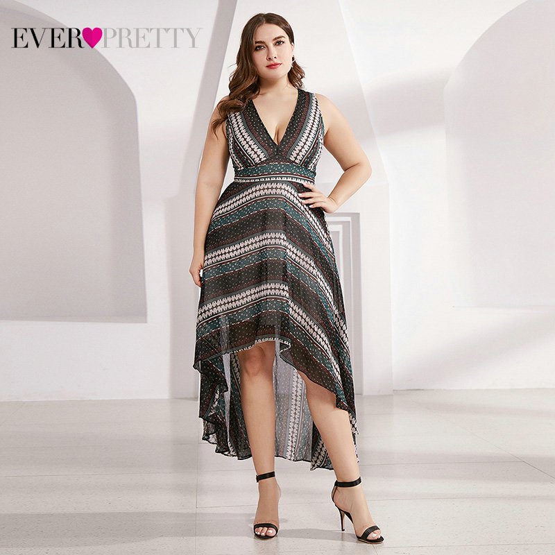 Casual Printed Homecoming Dresses Ever Pretty AS05971 V-Neck Knee-Length Striped Simple Short Beach Dresses Vestidos Cortos