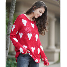 Casual Top Sweater Red Sweet Heart Sweaters Mujer Long Sleeve Pullover Femme Knitted Loose Sweaters Winter Clothes Women E1995 sweet sweaters sweet sweaters джемпер 136705