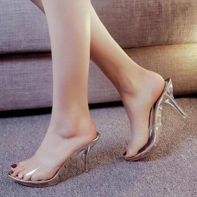 Nieuwe Dunne Hoge Hakken Schoenen Vrouwen Transparante Slippers Elegante Spitse Neus Bling Mode Vrouw Peep Toe Sandalen Vrouwelijke Jelly Schoen