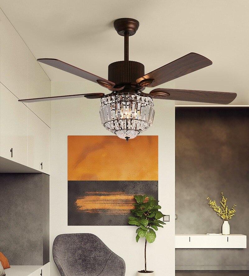 Led de cristal ventilador teto luz atmosfera simples moderna sala estar sala jantar ventiladores teto com luzes