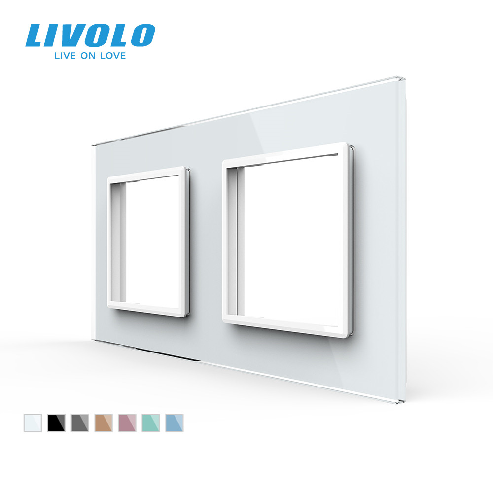 Livolo Luxury White Pearl Crystal Glass EU standard Double Glass Panel For Wall Switch amp Socket C7-2SR-11   4 Colors