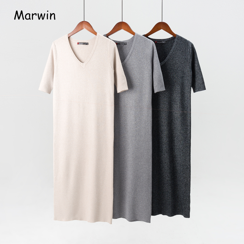 Marwin 2018 New-Coming Long Half V-Neck Knitted Pullovers Solid Primer Shirt Knitted Dress Winter Sweaters Fashion High Qulaity