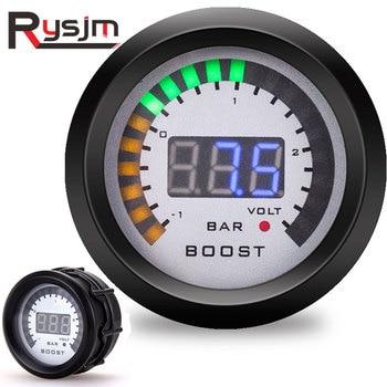 """Barra automática para el coche, medidor de impulso Turbo de 2 """"52mm, medidor facial LED para el humo con Sensor de luz azul, borde negro, 12V, medidores de presión turbo digital"""