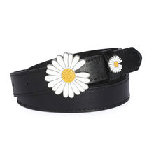 Small Daisy Pu Fine Belt Women Waistband Korean -style Student Flower Buckle Personality Smooth Buckle Faux Leather(China)