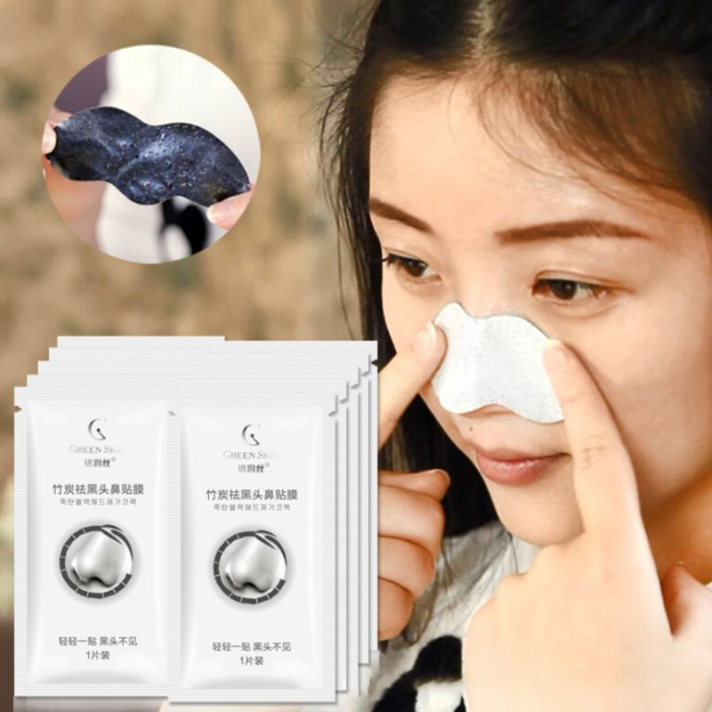 10 Pcs Bamboo Nasal Sticker Mask Charcoal Blackhead Whitehead Removal Shrink Pores Nose Membrane T4MB