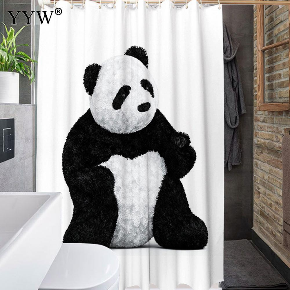 1 Pc Luxury Bath Shower Curtains Large Peva 3d Waterproof Shower Curtain Cute Animal Bath Screens White Clear Bathroom Curtains in Shower Curtains from Home Garden