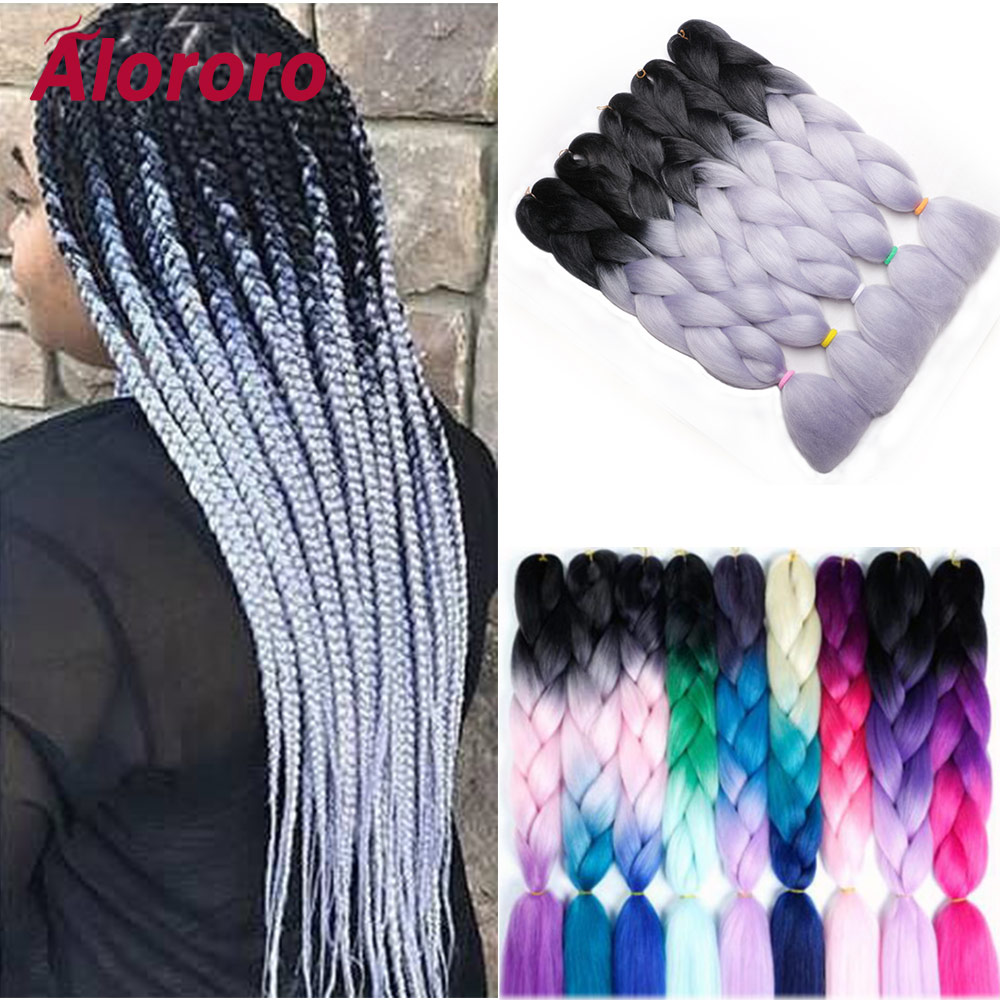 Alororo Braiding Hair For Women 24''100g/Pack Hair Braids Synthetic Hair Jumbo Braid 60 Colors Ombre Hair Extensions For Braids