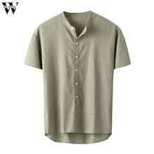 Womail, мужская рубашка, новинка, короткий рукав, топ, мешковатые, хлопок, лен, одноцветные, на пуговицах, рубашки, повседневные, для пляжа, высокое качество, летняя мода, M-3XL