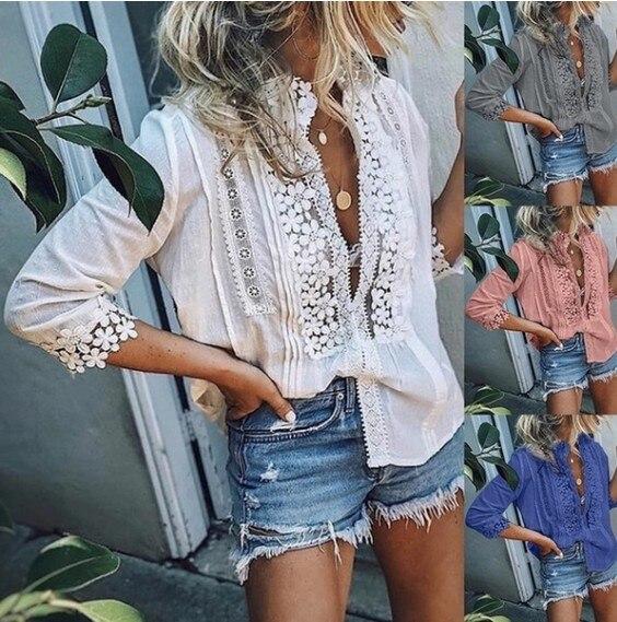 Размера плюс половина рукава Весенняя Блузка и рубашки кружева пэчворк свободные повседневные топы рубашки дамы блузки оверсайз