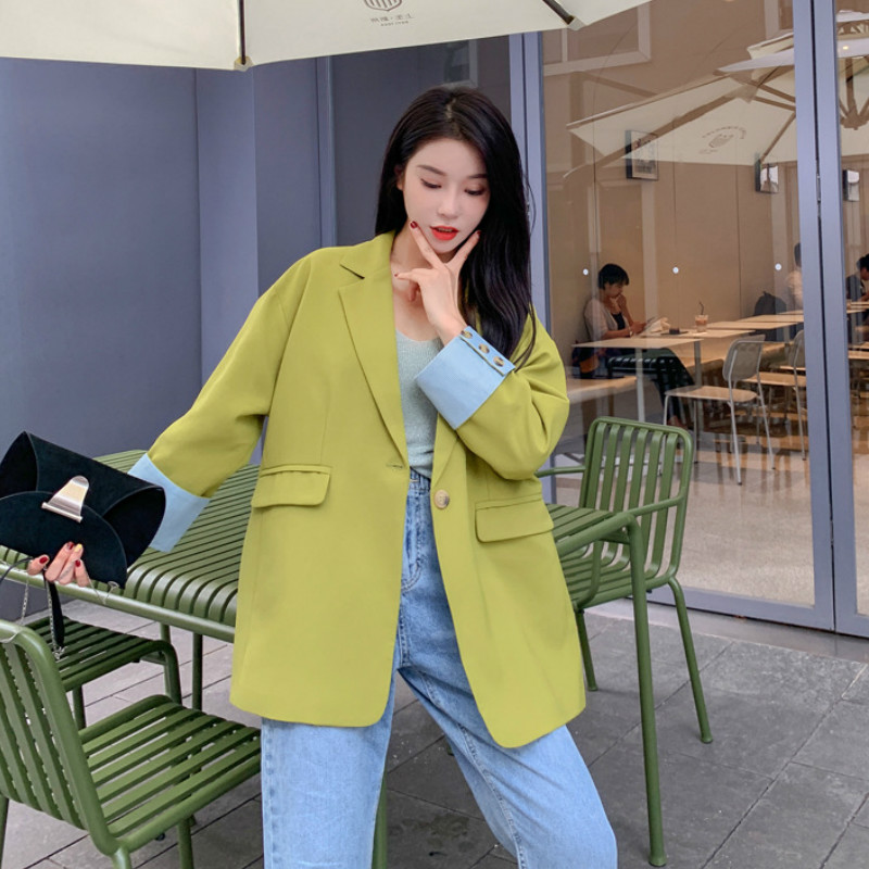 2019 Autumn New Solid Color Loose Suit Jacket Large Size Female Casual Long Sleeve Women's Blazer Office Tops With High Quality