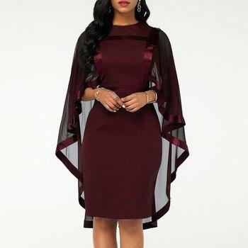 Summer Autumn Dress Women 2019 Casual Plus Size Slim Patchwork Mesh Office Bodycon Dresses Vintage Elegant Sexy Party Dresses 6