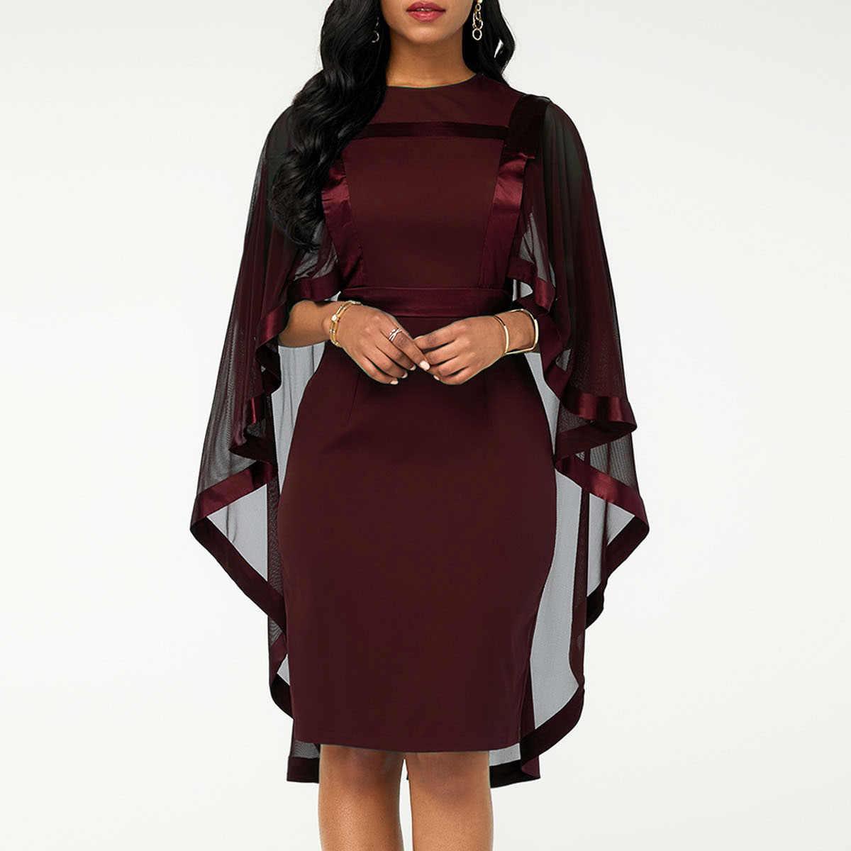 Verano otoño Vestido Mujer 2019 Casual de talla grande Delgado Patchwork malla Oficina ceñido vestidos Vintage elegante Sexy vestidos de fiesta