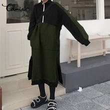 Celmia donna inverno dolcevita felpa abito moda Patchwork tasche cerniera abito Midi Casual manica lunga Split abiti