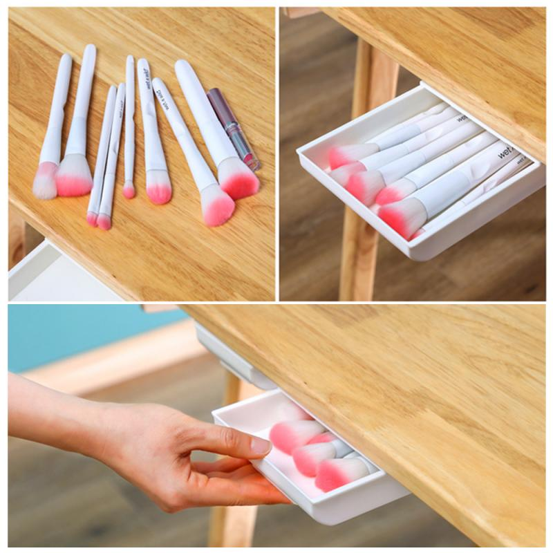 Self-Adhesive Under Desk Drawer Makeup Organizer Desktop Sundries Storage Box Stationery Supplie Pencil Tray Pen Holder Dropship(China)