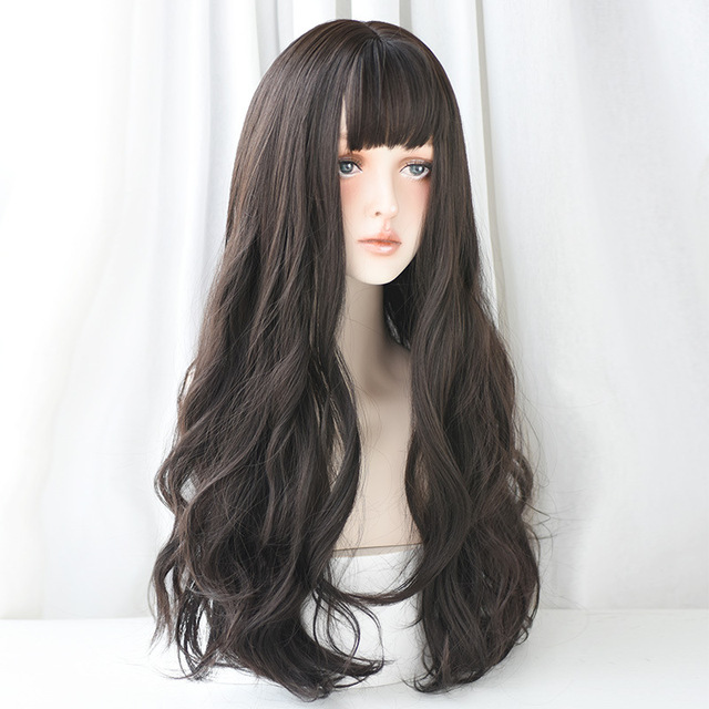 Yiyaobess Synthetic Long Wavy Wig With Bangs African American Natural Hair Brown Chocolate Linen Grey Blue Ombre Womens Wigs