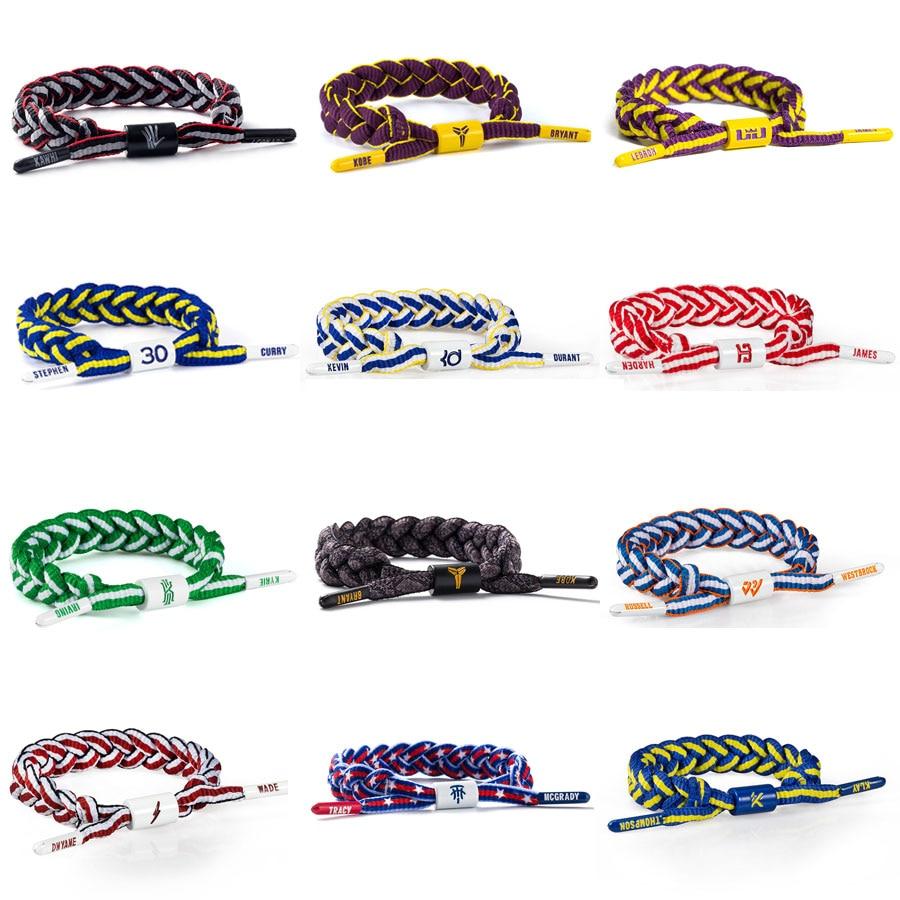 Sports Bracelet New Fashion Basketball Star Bracelet Adjustable Braided Band Pattern Bracelet Variety Multicolor