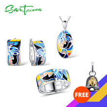 SANTUZZA Jewelry Set For Woman Genuine 925 Sterling Silver Face Ring Earrings Pendant Chic Jewelry Set Colorful HANDMADE Enamel цена и фото