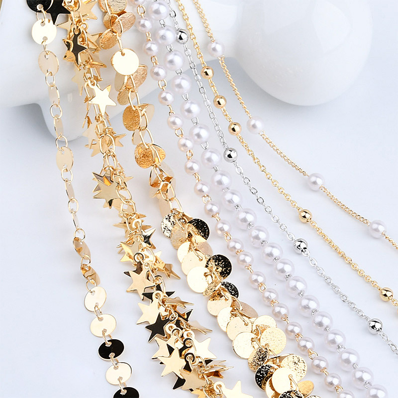 1meter Gold Chains Star Link Copper Chains DIY Jewelry Findings For Women Necklace Bracelet Making Supplies High Quality Bulk