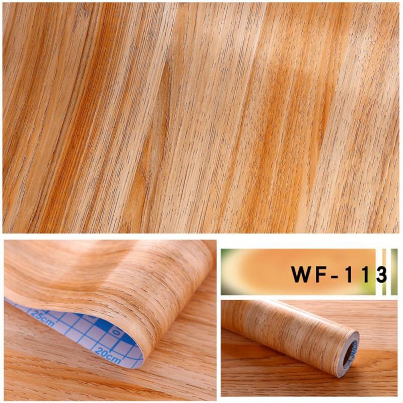 Mothproof Waterproof PVC Vinyl Wood Grain Self Adhesive Simulation Wallpaper Home Wardrobe Cabinet Decoration Door Wall Stickers