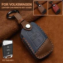 New Leather Key Cover Remote Case Shell For VW PASSAT 2015 - 2020 B8 Skoda Kodiaq Superb A7 car key case key holder