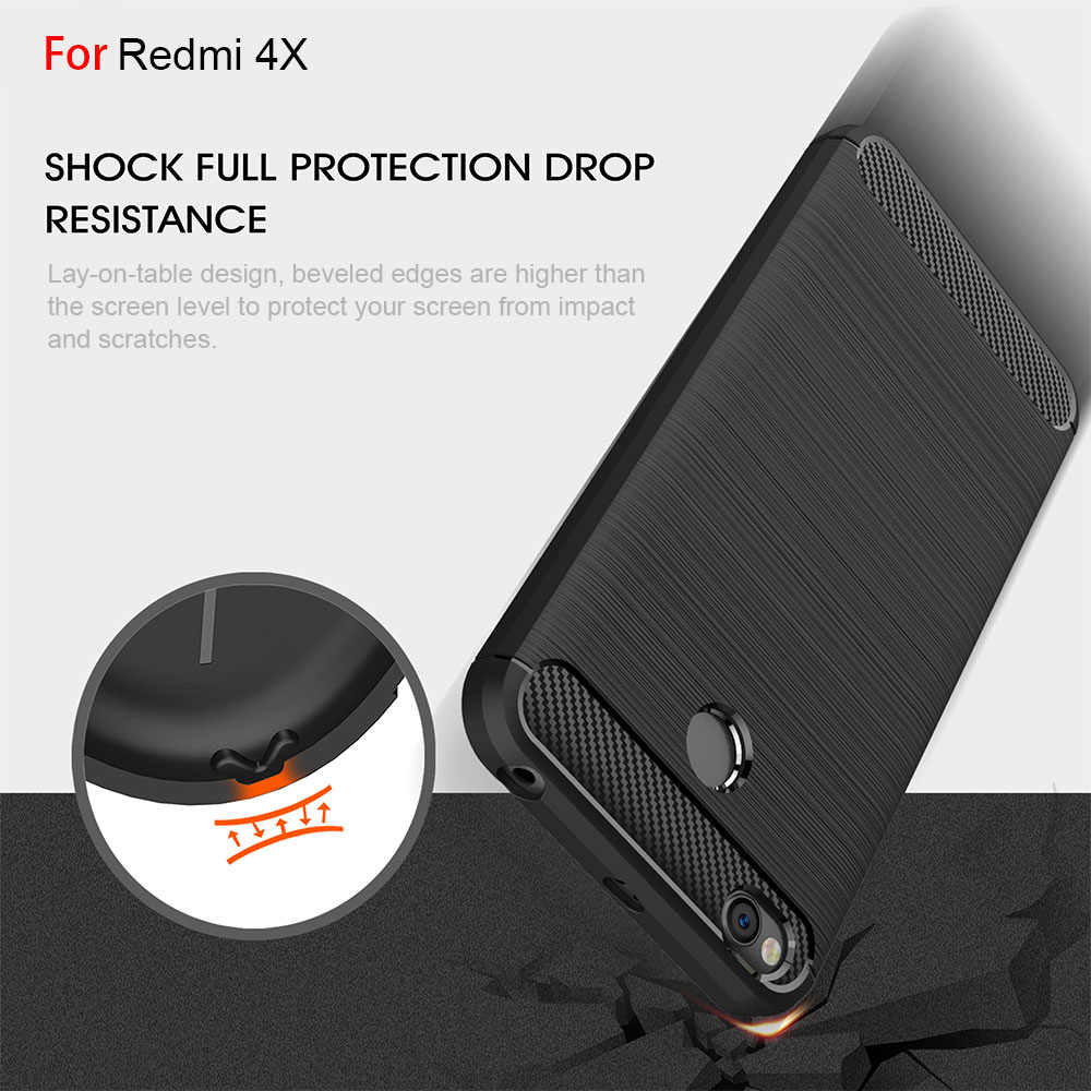 Redtree Brushed Silicone Carbon Fiber Cases for Xiaomi Redmi 4X Shockproof Soft TPU Smartphone Case for Xiomi Redmi 4X Case