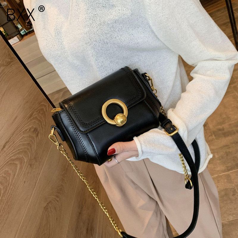 [BXX] PU Leather Shoulder Messenger Saddle Bags For Women 2020 Fashion Mini Crossbody Bag Female Chain Handbags And Purses HK382