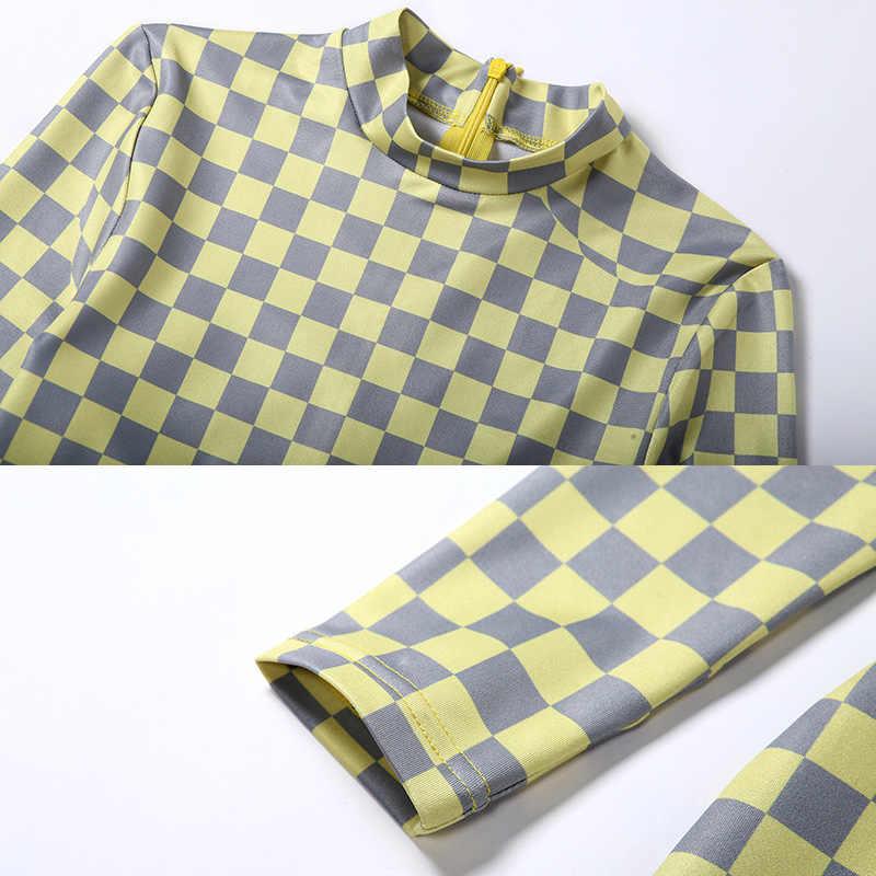 Kobiety szachownica kombinezon Plaid Stretch kratkę pajacyki odzież sportowa z długim rękawem dres trening odzież sportowa rajstopy stroje