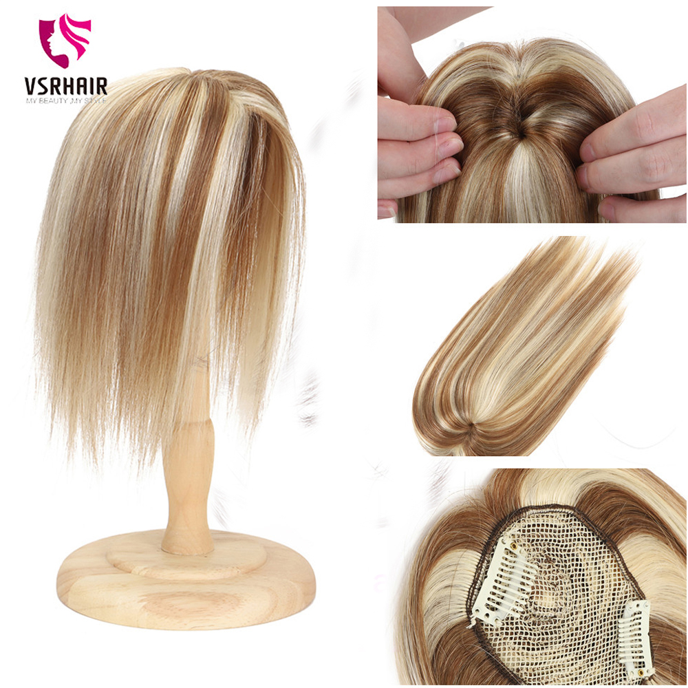 VSR Human Hair Topper For Women 100% Human Hair Clip-in One Piece Piano Colors Blonde 10inch 14 18 Mono Clips Hair Topper
