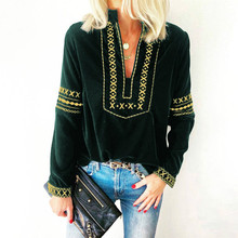 Autumn Lndie Folk Printed Blouse shirt Casual Mandarin Collar Loose  Long Sleeve Shirt Women